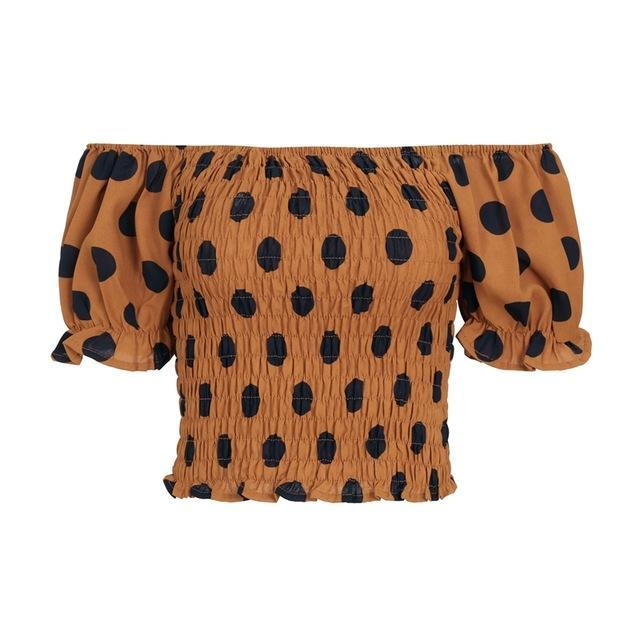 Polka Dot Puff Sleeve Crop (2 colors)