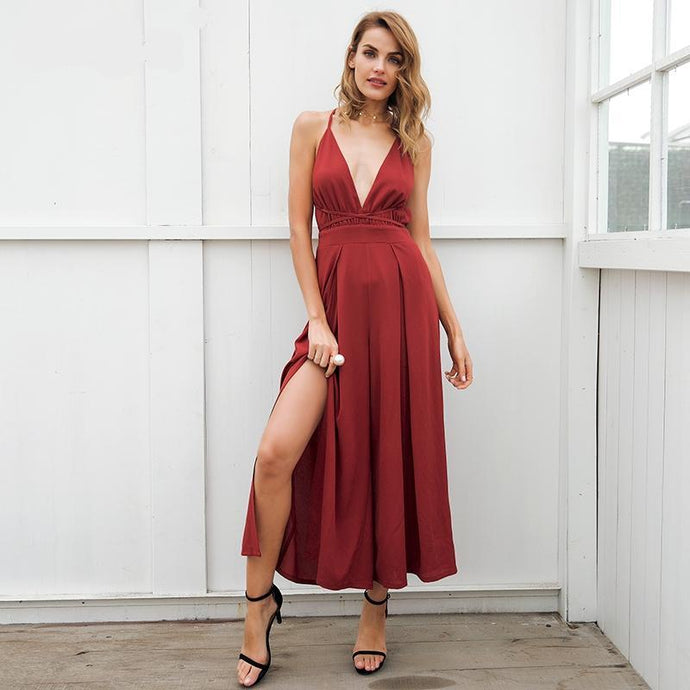 Deep V Backless Split Leg Jumpsuit (5 colors/prints)