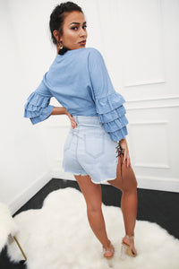 Ruffled Tie Up Crop Blouse