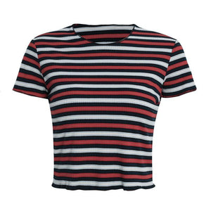 Striped Knit Stretch Tee