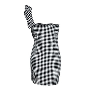 One Shoulder Ruffled Check Bodycon
