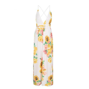Backless Deep V Floral Maxi Dress (8 colors/patterns)