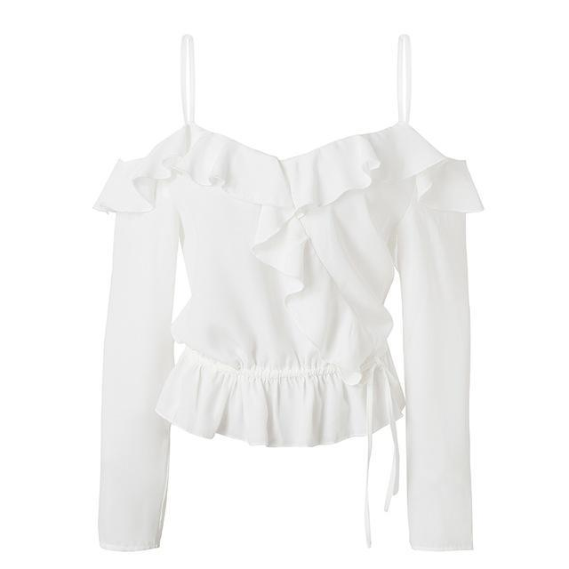 Cold Shoulder Ruffled Blouse (3 colors)