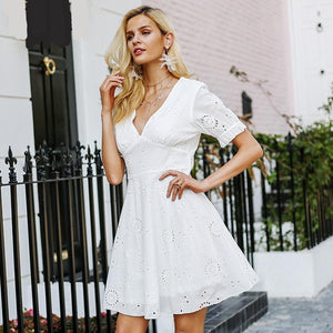 Short Sleeve Embroidered Summer Dress (2 colors)