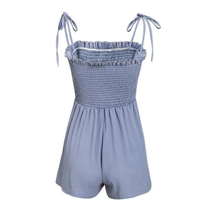 Smocked Lace Up Romper (4 colors)