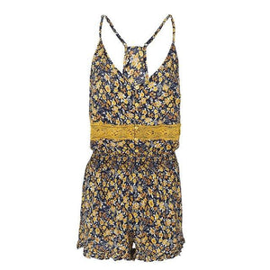 Backless Gold Floral Print Romper