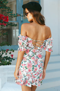 Floral Off Shoulder Lace Up Dress (2 colors)