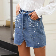 Split Pearl Denim Skirt