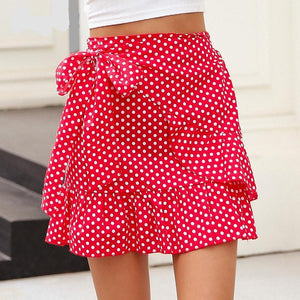 Side Bow Ruffled Wrap Skirt (5 colors/patterns)