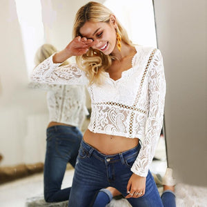 Lace Hollow Out Crop Blouse (2 colors)