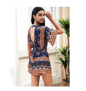 Backless Deep V Romper (4 colors/patterns)