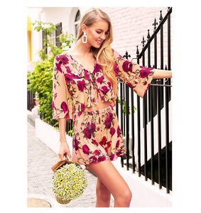 Ruffled Floral Two Piece Romper