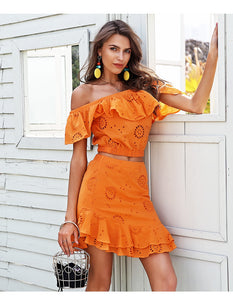 Off Shoulder Embroidered Two-Piece Dress (2 colors)