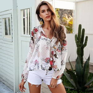 Boho Tie Up Chiffon Blouse