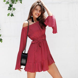 Flare Sleeve Polka Dot Summer Dress