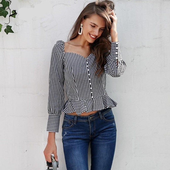 Low Cut Button Down Peplum Blouse