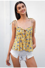 Floral Print Ruffled Tie Up Tank