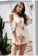 Cold Shoulder Ruffled Floral Romper