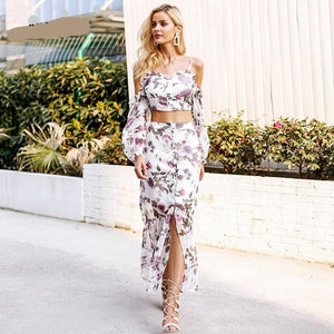 Cold Shoulder Floral Two Piece Long Dress