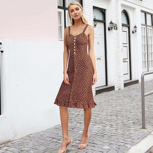 Elegant Polka Dot or Floral Print Summer Dress (5 colors/patterns)