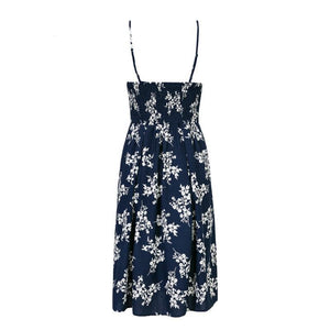 Floral Print Pleated Midi Dress