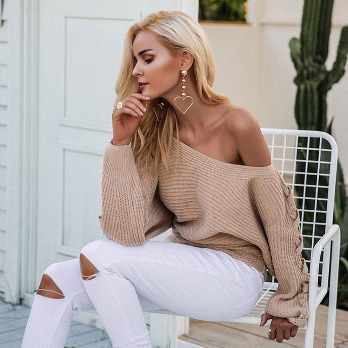 Off Shoulder Lace Up Knit Sweater