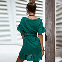 Elegant Tied Waist Ruffle Dress