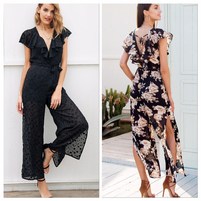Ruffled Side Split Chiffon Jumpsuit (2 colors)