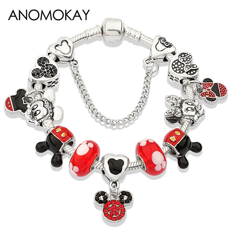 Pulseira Charme Mickey & Minnie