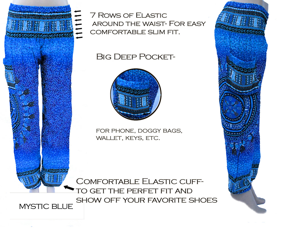 Blue Harem pant with 7 elastic