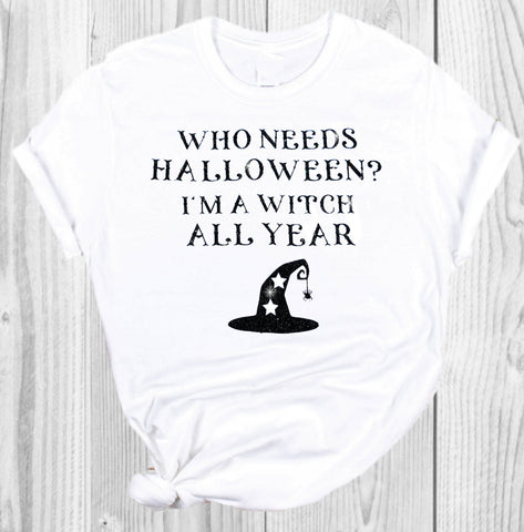 halloween t-shirt white glitter