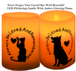 Pet Cat Dog Memory Candles Flameless With Real Wax-Never Forgot- Gorgeous Amber Flicking Led Light