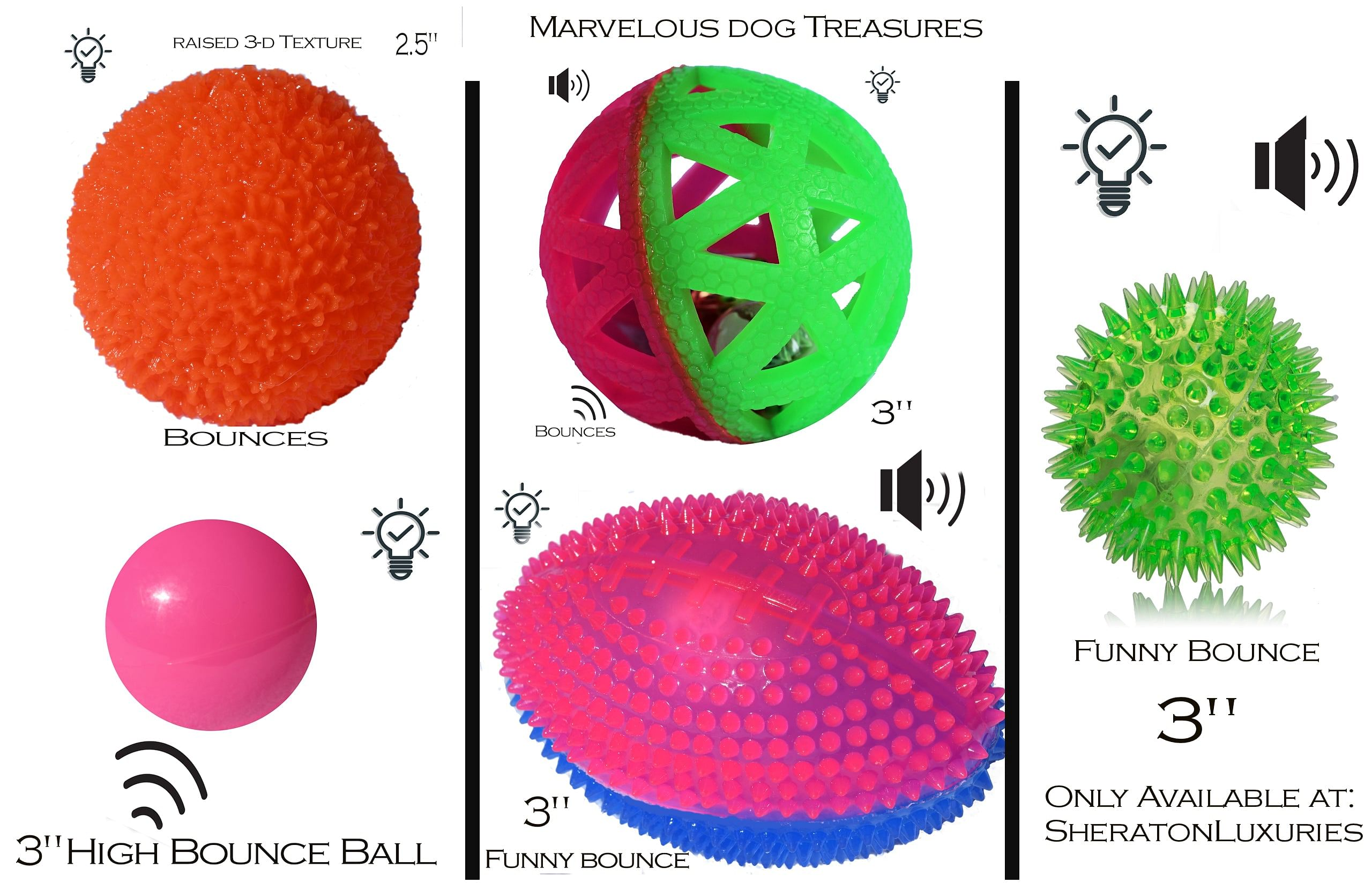 New! Bouncing Light up Dog Ball and Sound Pack Of 5 - Make Playtime Fun With These Unique Dog Toy Treasures