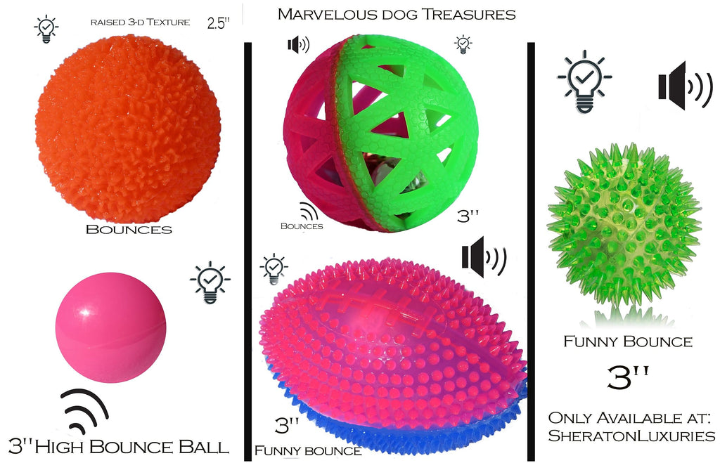 5 Durable Light Up Dog Balls Squeaky Sound Unique Pack- Make Your Dog 5x Happier with Mix Of Light and Sound Fun At Playtime 100% Happy Dog Guarantee Or Money Back Make