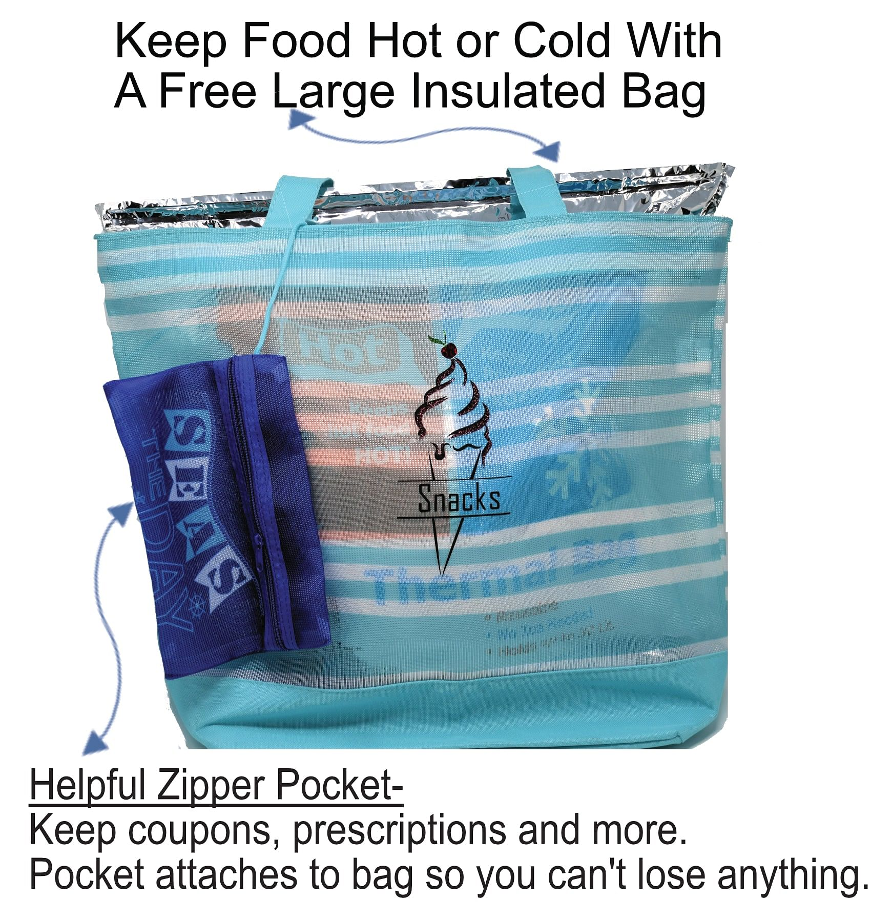 Reusable Large Grocery Tote Bags Includes Cute Sparkling Designs To Keep Your Grocery Organized And With A lot of Helpful  Hidden Extras Included. Lightweight Mesh With 2 Big Pockets Custom Printing Available