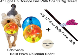"Light Up Dog Toy–4""Big Ball-Crazy Bounce Flashing Lights Amuse+Exercise Pet"