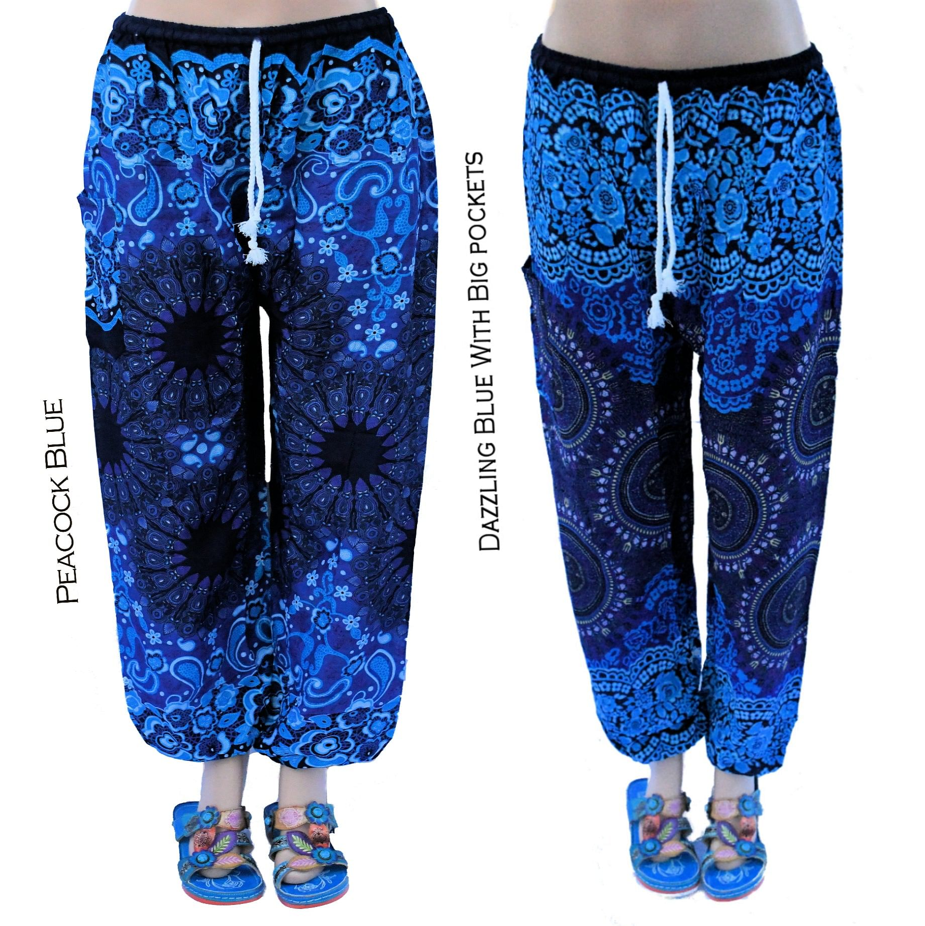 Women's Thai Harem Pants – Boho Style Lounge Pants – Lightweight Flowy Fabric, Loose and Comfortable Fit for Yoga, Travel, Sleep, Beach – Elastic Waist With or Without Drawstrings