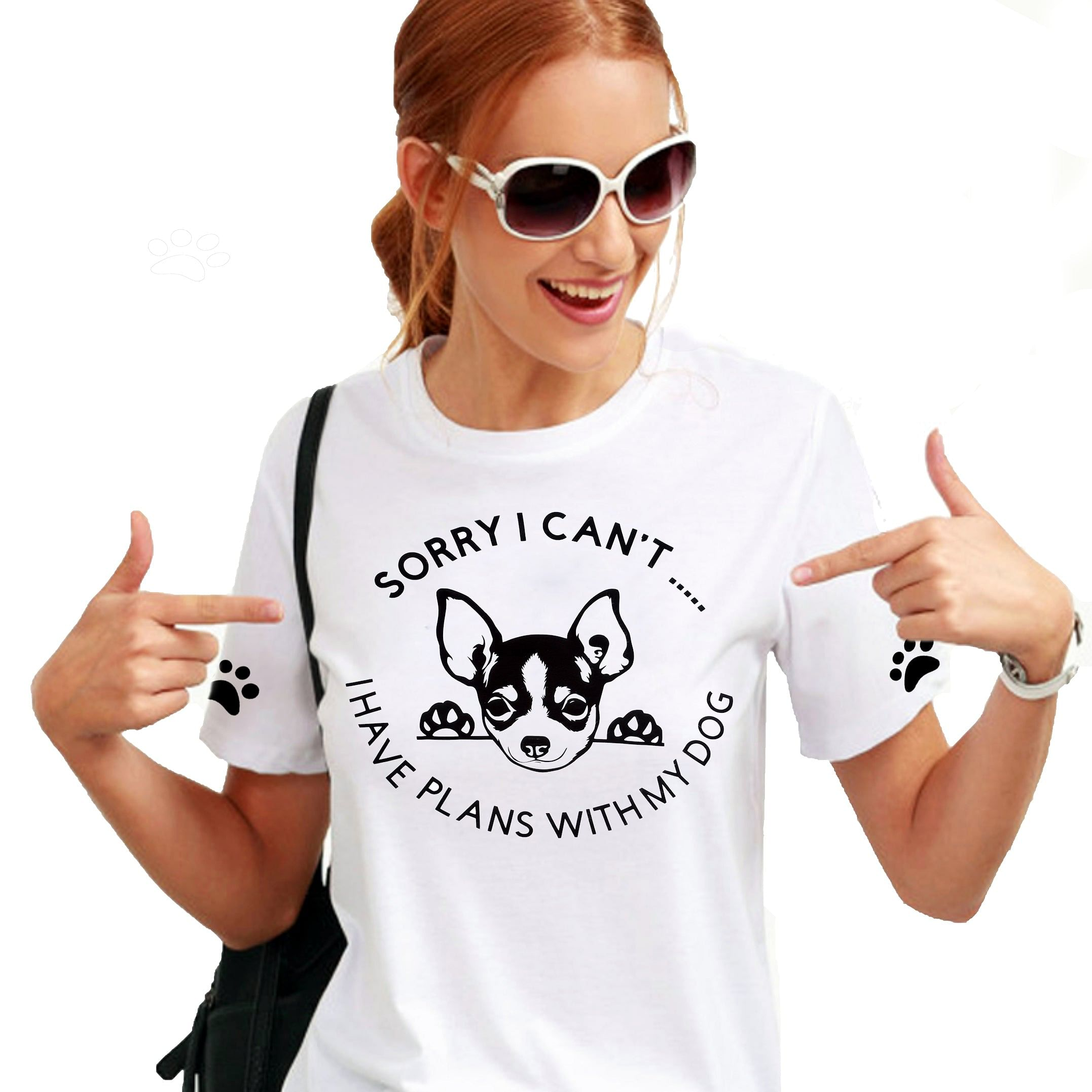 Funny Saying Dog Doggy Gildan T-Shirt Top  Gift White Cotton Lightweight Your Dog Breed Can be Added To Shirt