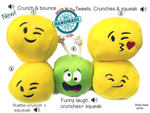 "<u><b>New Dog Ball Toys 3"" With Sounds </b></U><bR><BR><UL><LI>Plush Squeaky Soft Toys for Dogs </LI><LI>Funny Sounds: Soft Rattle Plus Crunchies Squeaks Wacky Sounds</LI><LI>Soft Ball Handmade In The USA</li></UL>"