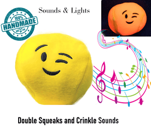 <b>New Fun Plush Dog Toys</B><ul><li>Soft Emoji ball lights up</li><li>Double squeaks, lights,<br> rattle &  crunchy sounds</li><li>Sensory Toy for Blind, <br>Senior & All Dogs</li></ul>