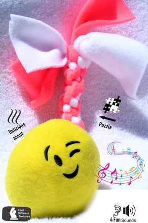 Funny Noise Dog Ball Toys- Yellow Plush Emoji Mermaid Toy Talks And Is Scented-Best Ultimate Sensory Toy  With Handy Puzzle rope Tail.  Giggles, Squeaks, Crinkles and Rattle Sounds.