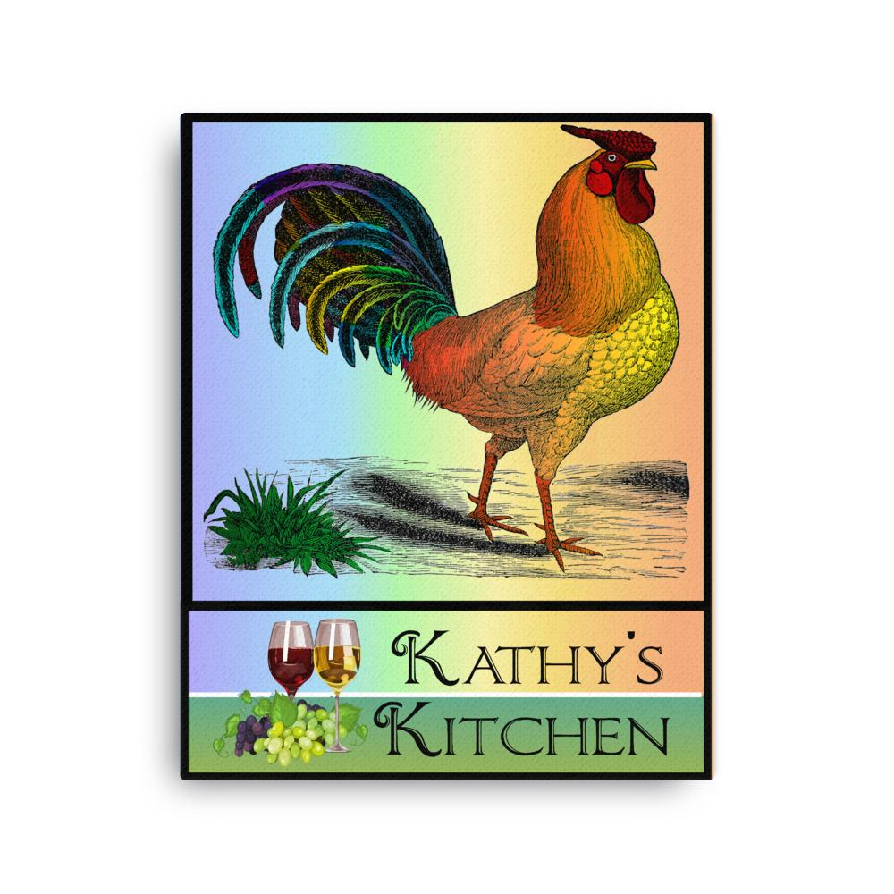 Colorful Dashing Rooster Kitchen Art Canvas Unique Personalized Gift For Home Decor 16x20""
