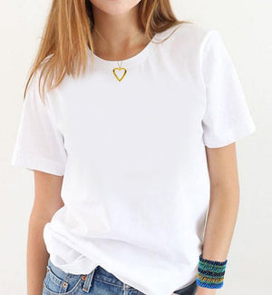 White T-shirt Tag-less Plain Short Sleeve  Crew Neck Women Cotton Comfortable to wear With Harem Pants