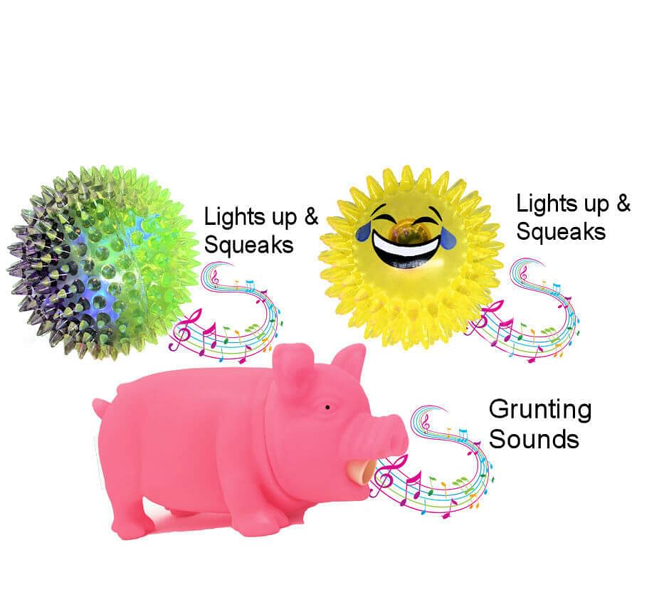 3 Dog Ball Toys with Squeaky Sounds,Funny Pig Grunts, Goofy Bounce and Lights Up. Fun Animated Toys That  Are Very Different