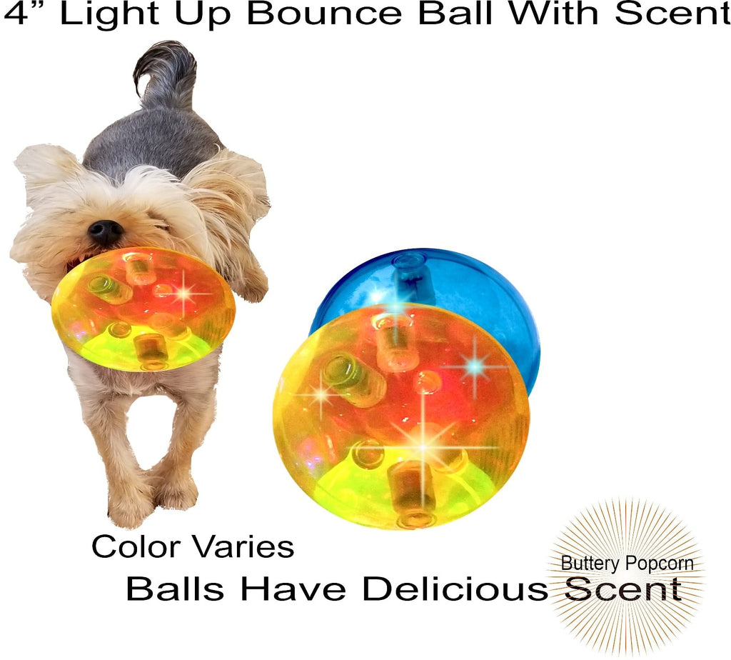 "New Scented Light Up Dog Ball Toy 4""- Tired Of Puppies Toys That Don't Last? 5x More Engaging"