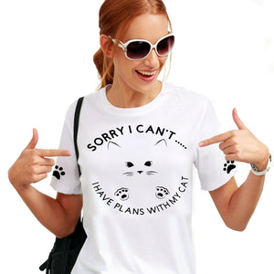 Funny White Cat T-Shirt Gift-Fun Lightweight Clothing For Heat.