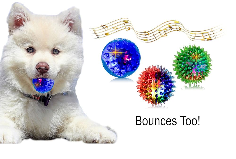 3 Light up Dog Sound Ball Toys 6 Different Ways Capture Your Dogs Attention, 3 Different Funny Sounds for Small Medium Dogs and blind Dogs, Soft Dog Toys Easy For Dogs To Grab, Goofy Waggle Bounce Toy Only A Few Left !