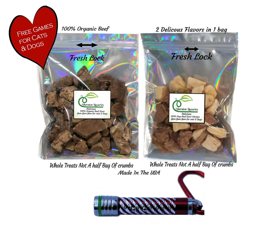 Sheraton Luxuries Freeze Dried Beef Liver & Chicken Dog and Cat Treats – 100% Pure Tasty Treats For Even The Fussiest Dog or Cat Plus Free Games & Gift