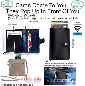 Small Black Slim Front Pocket Wallet For Women and Men, Smart Design Quickly Reach Cards As They PopUp In Front Of You.Cards Protected From Thieves With RFID Built-in.