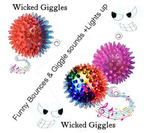 3 Dog Ball Toys With Funny Wicked Giggles Led light + Goofy Teasing Bounces